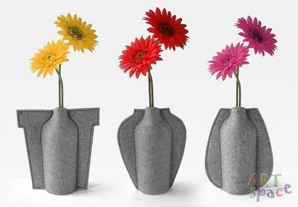 Красивая вазочка для цветов из фетра